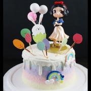 susan susan,冰淇淋千層蛋糕__白雪公主在森林之舞 ( 附上白雪公主公仔、森林小兔插旗、氣球裝飾、生日快樂牌子、彩虹    造型不定期調整*。.) (唯一可宅配冰淇淋蛋糕#,也可不做冰淇淋 )...  ....(裝飾品為贈品不得轉售..平均哈根達斯蛋糕熱量的1/5台灣蛋糕的1/4)),