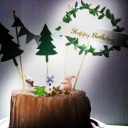 susan susan,兔兔派對___樹木冰淇淋蛋糕  ( 附贈12種小兔公仔 、小屋、可食用的取暖樹枝堆、草叢堆、樹木插旗、派對拉旗、與生日快樂牌子  ) ( 可勾不做巧克力、也可做巧克力以榛果巧克力為主軸)( 可勾不要抹茶、也可勾要抹茶風味 )( 可勾不要冰淇淋、也可勾要冰淇淋口感 )    (可全台宅配),