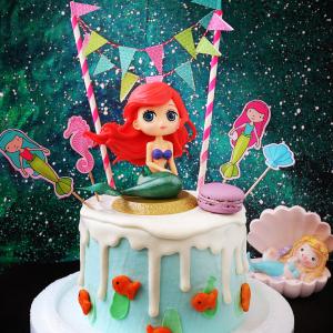 美人魚, 公仔, 玩具, 裝飾蛋糕, 冰淇淋蛋糕, Dessert365, PX 漫漫手工甜點市集, 手工甜點, 冰淇淋蛋糕, 與手工甜點對話的Susan, 插畫, 客製化
