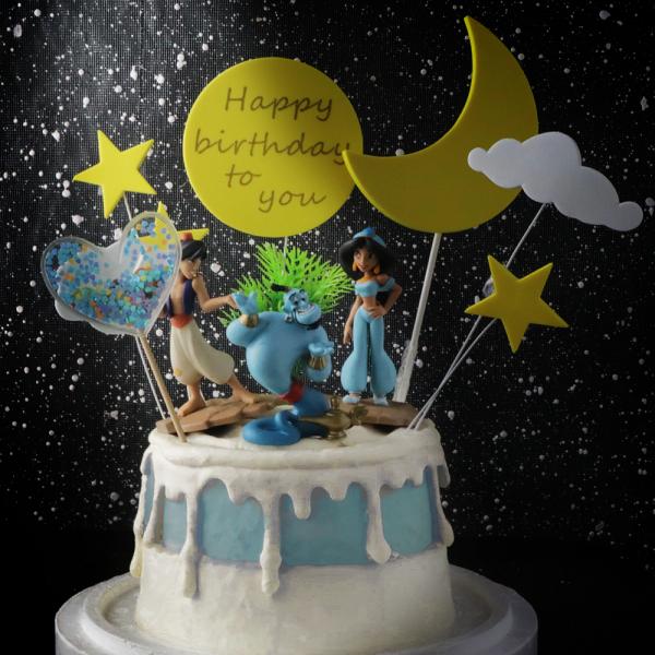 susan susan,冰淇淋裝飾水果蛋糕__三個願望  ( 附贈阿拉丁、茉莉公主、精靈、綠洲插件、魔法愛心、魔法月亮) (唯一可全台宅配冰淇淋蛋糕) ( 可勾不做冰淇淋、也可做冰淇淋),