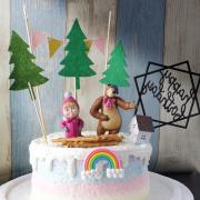 susan susan, 情境蛋糕__一起派對  ( 附贈小女孩、熊、木頭餅乾、立體彩虹、森林小屋或者其他森林系裝飾、森林插件、派對拉旗、生日快樂插件 裝飾造型不定期調整, 但主題與數量都會一致請放心。部分蛋糕依照您勾選的附件贈品種類與數量不同,材積與蛋糕造型會有增加或者變動,因此蛋糕售價會跟著浮動) (唯一可全台宅配 情境蛋糕) ( 可勾不做冰淇淋、也可做冰淇淋,此奶醬是獨家研發的天然配方,熬煮多小時製作而成的,優點是低糖、好吃健康、且宅配不容易壞損融化!  吃的時候記得照包裝上「食用說明」吃,冷凍保存、退冰約5~10分鐘,退太久一般會融化,雖然Susan老師的不會輕易融化但也會失去冰淇淋口感,要注意喔!我愛瑪莎與熊的歌曲 (回放冷凍1HR即可又恢復冰淇淋口感)(裝飾品為贈品不得轉售)),