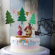 susan susan,冰淇淋裝飾水果蛋糕__瑪莎與熊一起派對  ( 附贈瑪莎、熊、木頭餅乾、立體彩虹、森林小屋、森林插件、派對拉旗、生日快樂插件 ) (唯一可全台宅配冰淇淋蛋糕) ( 可勾不做冰淇淋、也可做冰淇淋),