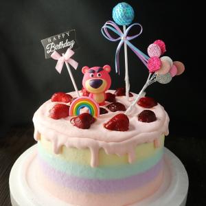 susan susan, 情境蛋糕__熊抱哥的草莓滋味 ( 內餡料預設草莓炸彈為主、附上熊抱哥(草莓熊人)、亮晶晶球、生日快樂插件、立體彩虹、氣球插件,裝飾造型不定期調整, 但主題與數量都會一致請放心。部分蛋糕依照您勾選的附件贈品種類與數量不同,材積與蛋糕造型會有增加或者變動,因此蛋糕售價會跟著浮動) (唯一可全台宅配 情境蛋糕) ( 可勾不做冰淇淋、也可做冰淇淋,此奶醬是獨家研發的天然配方,熬煮多小時製作而成的,優點是低糖、好吃健康、且宅配不容易壞損融化!  吃的時候記得照包裝上「食用說明」吃,冷凍保存、退冰約5~10分鐘,退太久一般會融化,雖然Susan老師的不會輕易融化但也會失去冰淇淋口感,要注意喔!(回放冷凍1HR即可又恢復冰淇淋口感)(裝飾品為贈品不得轉售)),