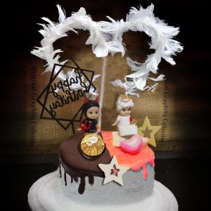 天使與惡魔 , 公仔, 玩具, 裝飾蛋糕, 冰淇淋蛋糕, Dessert365, PX 漫漫手工甜點市集, 手工甜點, 冰淇淋蛋糕, 與手工甜點對話的Susan, 插畫, 客製化
