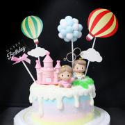 susan susan,冰淇淋千層蛋糕__王子公主的夢想世界 ( 附上王子or公主、溜滑梯or城堡、熱氣球、生日插件、夢幻球球, 造型不定期調整*。.) (唯一可宅配冰淇淋蛋糕#,也可不做冰淇淋 )...  ....(裝飾品為贈品不得轉售..平均哈根達斯蛋糕熱量的1/5台灣蛋糕的1/4)),
