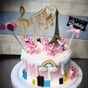 susan susan,冰淇淋千層蛋糕__浪漫粉紅豹 ( 附上粉紅豹、巴黎鐵塔、生日插件、音符、氣球裝飾 )  (唯一可宅配冰淇淋蛋糕#,也可不做冰淇淋 )...  ... 我喜歡頑皮豹的歌曲  .(裝飾品為贈品不得轉售..平均哈根達斯蛋糕熱量的1/5台灣蛋糕的1/4)),