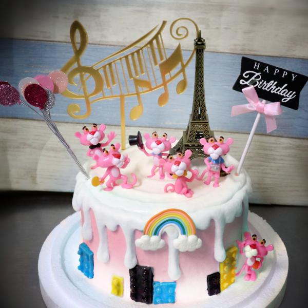 頑皮豹, 粉紅豹, 公仔, 玩具, 裝飾蛋糕, 冰淇淋蛋糕, Dessert365, PX 漫漫手工甜點市集, 手工甜點, 冰淇淋蛋糕, 與手工甜點對話的Susan, 插畫, 客製化
