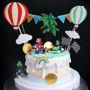 susan susan,全台唯一可宅配_冰淇淋千層蛋糕__瑪莉歐賽車 ( 附上角色選擇、金幣巧克力、賽車場景、熱氣球、彩虹,造型不定期調整*。.) (##也可不做冰淇淋 )...  ...我愛瑪莉歐馬力歐瑪利歐超級瑪莉的歌曲.(裝飾品為贈品不得轉售..平均哈根達斯蛋糕熱量的1/5台灣蛋糕的1/4))防疫期間,新竹以北延誤機率約1%,因此會提早給司機,提早到放冷凍保鮮不擔心,