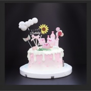 susan susan,冰淇淋千層蛋糕__鼻涕豬  ( 附上鼻涕豬、雲朵、城堡、向日葵、天使愛心、氣球, 造型不定期調整*。.) (唯一可宅配冰淇淋蛋糕#,也可不做冰淇淋 )...  ....(裝飾品為贈品不得轉售..平均哈根達斯蛋糕熱量的1/5台灣蛋糕的1/4)),