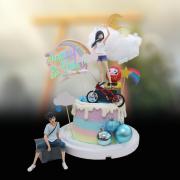 susan susan,冰淇淋千層蛋糕__天氣之子  ( 附上主角群、腳踏車、天氣、太陽月亮彩虹、不倒翁、生日快樂插件, 造型不定期調整*。.) (唯一可宅配冰淇淋蛋糕#,也可不做冰淇淋 )...  ....(裝飾品為贈品不得轉售..平均哈根達斯蛋糕熱量的1/5台灣蛋糕的1/4)),