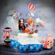 susan susan,冰淇淋千層蛋糕__海賊女王  ( 選附女角,附上海盜船、彩虹、海賊拉旗、夢幻球、雲朵、熱氣球, 造型不定期調整*。.) (唯一可宅配冰淇淋蛋糕#,也可不做冰淇淋 )... 海賊王漫畫是神作 ....(裝飾品為贈品不得轉售..平均哈根達斯蛋糕熱量的1/5台灣蛋糕的1/4)),