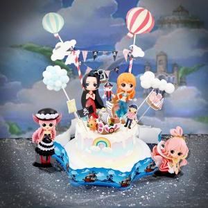 susan susan,這不是翻糖因翻糖不好吃__海賊女王  ( 選附女角,附上海盜船、彩虹、海賊拉旗、夢幻球、雲朵、熱氣球, 造型不定期調整*。.) (唯一可宅配冰淇淋蛋糕#,也可不做冰淇淋 )... 海賊王漫畫是神作 ....(裝飾品為贈品不得轉售..平均哈根達斯蛋糕熱量的1/5台灣蛋糕的1/4)),
