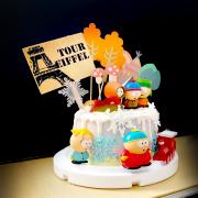 susan susan,全台唯一可宅配_冰淇淋千層蛋糕__南方公園 ( 附上南方四賤客、雪花、楓樹、公園設計,選附特快車,造型不定期調整*。.) (##也可不做冰淇淋 )...  ....(裝飾品為贈品不得轉售..平均哈根達斯蛋糕熱量的1/5台灣蛋糕的1/4))防疫期間,尤其雙北桃園新竹,下單表示同意可能延誤,台灣加油!,