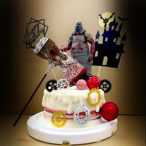 susan susan,這不是翻糖因翻糖不好吃__惡靈古堡派對 ( 附上大斧行刑者、古堡、恐怖齒輪、生日快樂插件,造型不定期調整*。.) (唯一可宅配冰淇淋蛋糕#,也可不做冰淇淋 )...  ....(裝飾品為贈品不得轉售..平均哈根達斯蛋糕熱量的1/5台灣蛋糕的1/4)),
