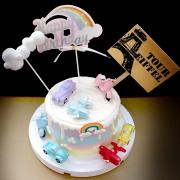 susan susan,全台唯一可宅配_冰淇淋千層蛋糕__復古大集合  ( 附上可愛復古風交通工具、雲朵、彩虹、立牌  造型不定期調整*。.) (##也可不做冰淇淋 )...  ....(裝飾品為贈品不得轉售..平均哈根達斯蛋糕熱量的1/5台灣蛋糕的1/4),