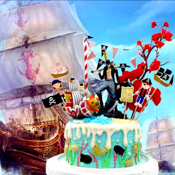 susan susan,全台唯一可宅配_冰淇淋千層蛋糕__孤高的劍士  ( 附上海賊王鷹眼、牡丹、海盜船、海盜拉旗,造型不定期調整*。.) (##也可不做冰淇淋 )...  ....(裝飾品為贈品不得轉售..平均哈根達斯蛋糕熱量的1/5台灣蛋糕的1/4))防疫期間,新竹以北延誤機率約1%,因此會提早給司機,提早到放冷凍保鮮不擔心,