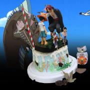 susan susan,全台唯一可宅配_冰淇淋千層蛋糕__傳承 ( 附上魯夫、紅髮、海賊王拉旗、選附海賊船, 造型不定期調整*。.) (##也可不做冰淇淋 )...  ....(裝飾品為贈品不得轉售..平均哈根達斯蛋糕熱量的1/5台灣蛋糕的1/4))防疫期間,新竹以北延誤機率約1%,因此會提早給司機,提早到放冷凍保鮮不擔心,