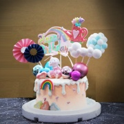 susan susan,全台唯一可宅配_冰淇淋千層蛋糕__歐風__桑迪兔  ( 附上桑迪兔、澆花器、夢幻球、彩虹、雲朵等夢幻布景  造型不定期調整*。.) (##也可不做冰淇淋 )...  ....(裝飾品為贈品不得轉售..平均哈根達斯蛋糕熱量的1/5台灣蛋糕的1/4))防疫期間,新竹以北延誤機率約1%,因此會提早給司機,提早到放冷凍保鮮不擔心,