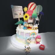 susan susan,全台唯一可宅配_冰淇淋千層蛋糕__家居小新 ( 附上蠟筆小新、蠟筆立牌、屋子、熱氣球、向日葵、隨機造型小汽車  造型不定期調整*。.) (##也可不做冰淇淋 )...  ....(裝飾品為贈品不得轉售..平均哈根達斯蛋糕熱量的1/5台灣蛋糕的1/4))防疫期間,尤其雙北桃園新竹,下單表示同意可能延誤,台灣加油!,