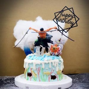 susan susan,這不是翻糖因翻糖不好吃__海水也可斬開的男人 ( 附上海賊王索隆、海水之氣、海盜船、生日快樂插件, 造型不定期調整*。.) (唯一可宅配冰淇淋蛋糕#,也可不做冰淇淋 )...  ....(裝飾品為贈品不得轉售..平均哈根達斯蛋糕熱量的1/5台灣蛋糕的1/4)),