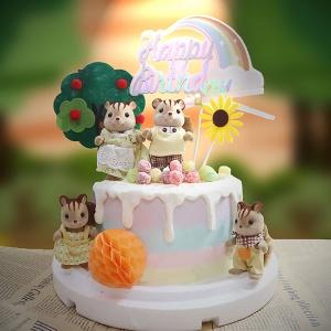 susan susan,冰淇淋千層蛋糕__動物森林 ( 附上隨機款動物家庭、森林大樹、彩虹、向日葵、球球果實   造型不定期調整*。.) (唯一可宅配冰淇淋蛋糕#,也可不做冰淇淋 )...  ....(裝飾品為贈品不得轉售..平均哈根達斯蛋糕熱量的1/5台灣蛋糕的1/4)),