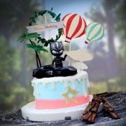susan susan,冰淇淋千層蛋糕__黑豹車 ( 附上跑車、黑豹、生日快樂插件、熱氣球、樹木   造型不定期調整*。.) (唯一可宅配冰淇淋蛋糕#,也可不做冰淇淋 )...  ....(裝飾品為贈品不得轉售..平均哈根達斯蛋糕熱量的1/5台灣蛋糕的1/4)),