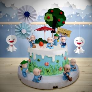 susan susan,全台唯一可宅配_冰淇淋千層蛋糕__一休和尚 ( 附上一休和尚、遮陽傘、乘涼樹、和風插件、生日快樂插件  造型不定期調整*。.) (##也可不做冰淇淋 )...  ....(裝飾品為贈品不得轉售..平均哈根達斯蛋糕熱量的1/5台灣蛋糕的1/4))防疫期間,雙北桃園新竹消費者下單表示同意可接受延誤,台灣加油!,