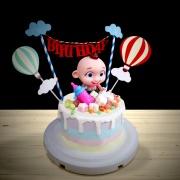 susan susan,全台唯一可宅配_冰淇淋千層蛋糕__JOJO ( 附上JOJO寶貝、奶瓶造型裝飾、熱氣球、雲朵拉旗,   造型不定期調整*。.) (##也可不做冰淇淋 )...  ....(裝飾品為贈品不得轉售..平均哈根達斯蛋糕熱量的1/5台灣蛋糕的1/4))防疫期間,雙北桃園新竹消費者下單表示同意可接受延誤,台灣加油!,